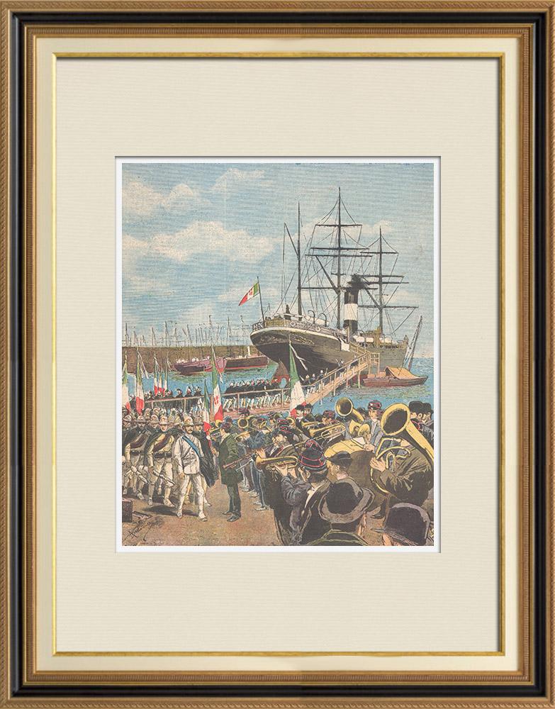 Gravures Anciennes & Dessins | Guerre italo-éthiopienne - Embarquement des soldats à Naples - 1895 | Gravure sur bois | 1895
