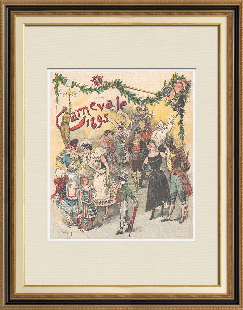 Gravures Anciennes & Dessins | Modes et Costumes - Carnaval - Déguisement - 1895 | Gravure sur bois | 1895