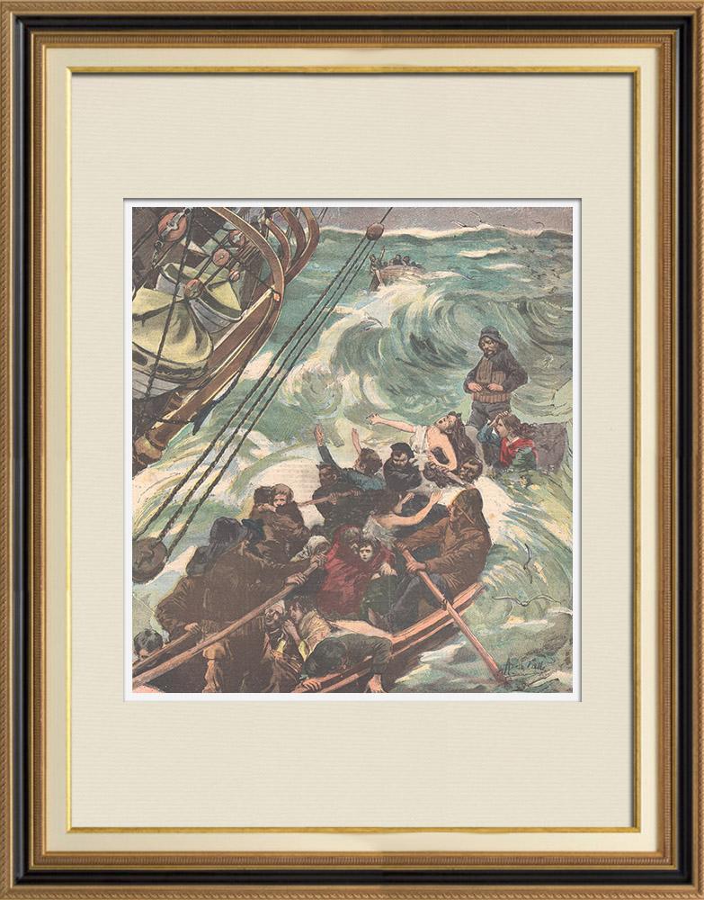 Gravures Anciennes & Dessins | Naufrage - Sauvetage des naufragés de l'Elbe par un bateau de pêche - 1895 | Gravure sur bois | 1895