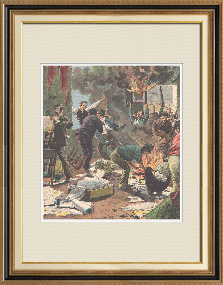 Antique Prints & Drawings   Uprising in Acerra - Campania - Italy - 1895   Wood engraving   1895