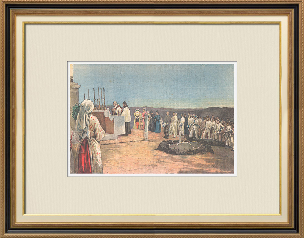 Antique Prints & Drawings   Commemoration of Italian soldiers killed in Dogali on 1887   Wood engraving   1895