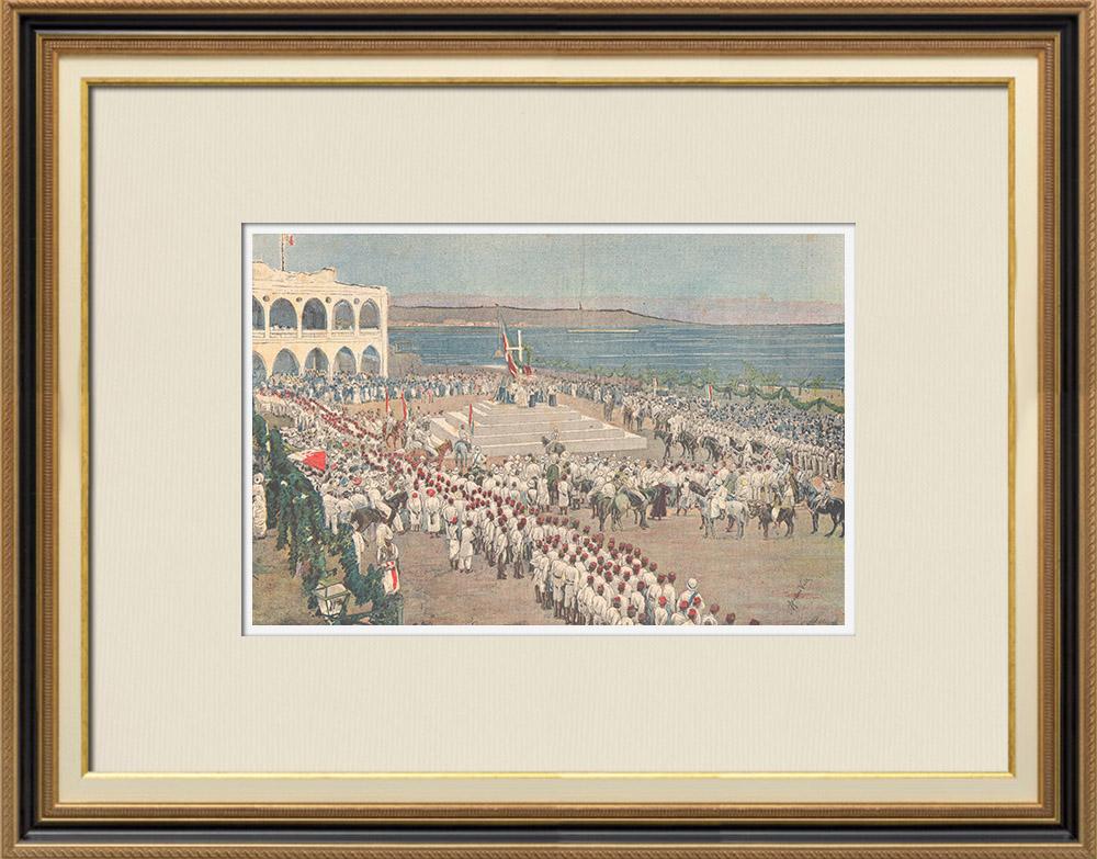 Antique Prints & Drawings | Italo-Ethiopian War - The winners of Senafé return to Massaoua - 1895 | Wood engraving | 1895