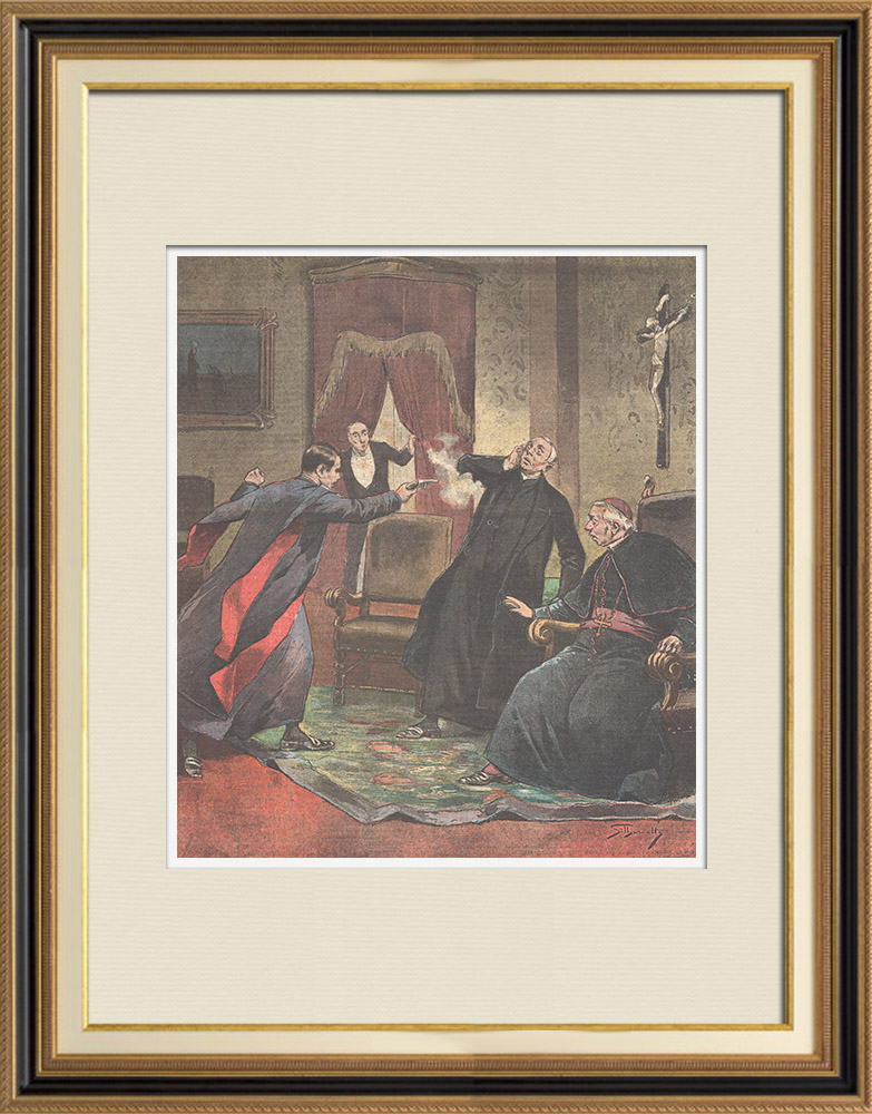 Antique Prints & Drawings   A young deacon murders a priest in Calabria - Italy - 1895   Wood engraving   1895