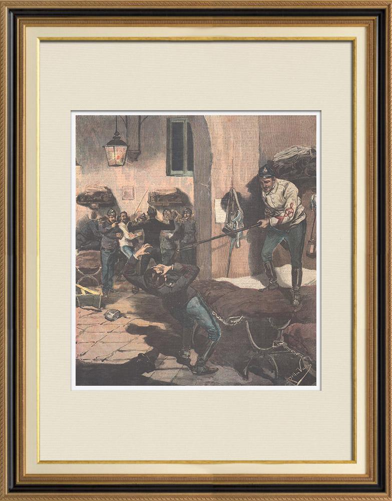 Gravures Anciennes & Dessins | Tragique accident à la caserne de Naples - Italie - 1895 | Gravure sur bois | 1895