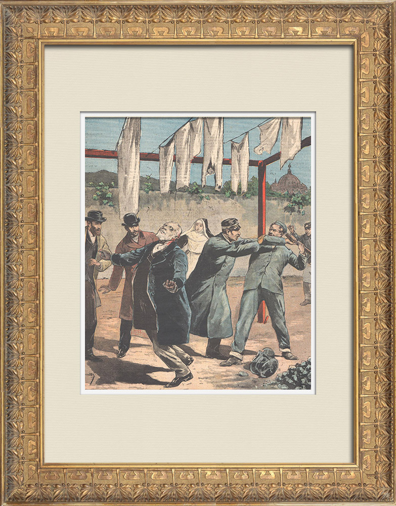 Antique Prints & Drawings | Senator Filippo Berardi assassinated by a madman at Rome - 1895 | Wood engraving | 1895