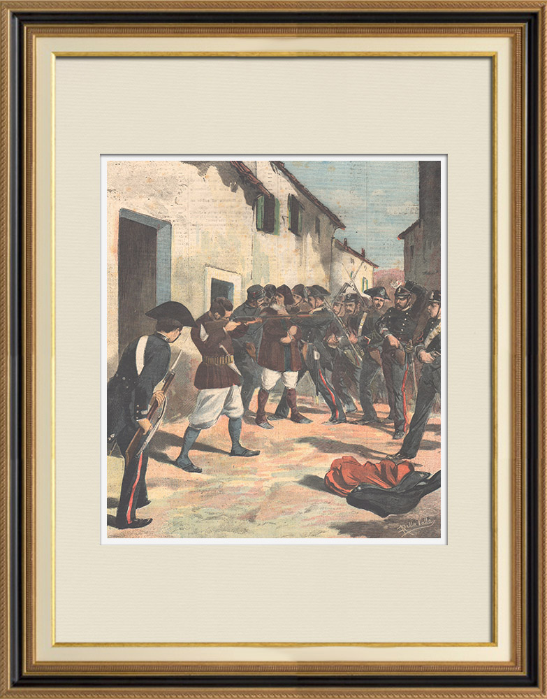 Antique Prints & Drawings   Conflict with the highwayman Sanna and death of lieutenant Palmas in Sardinia - Italy - 1895   Wood engraving   1895