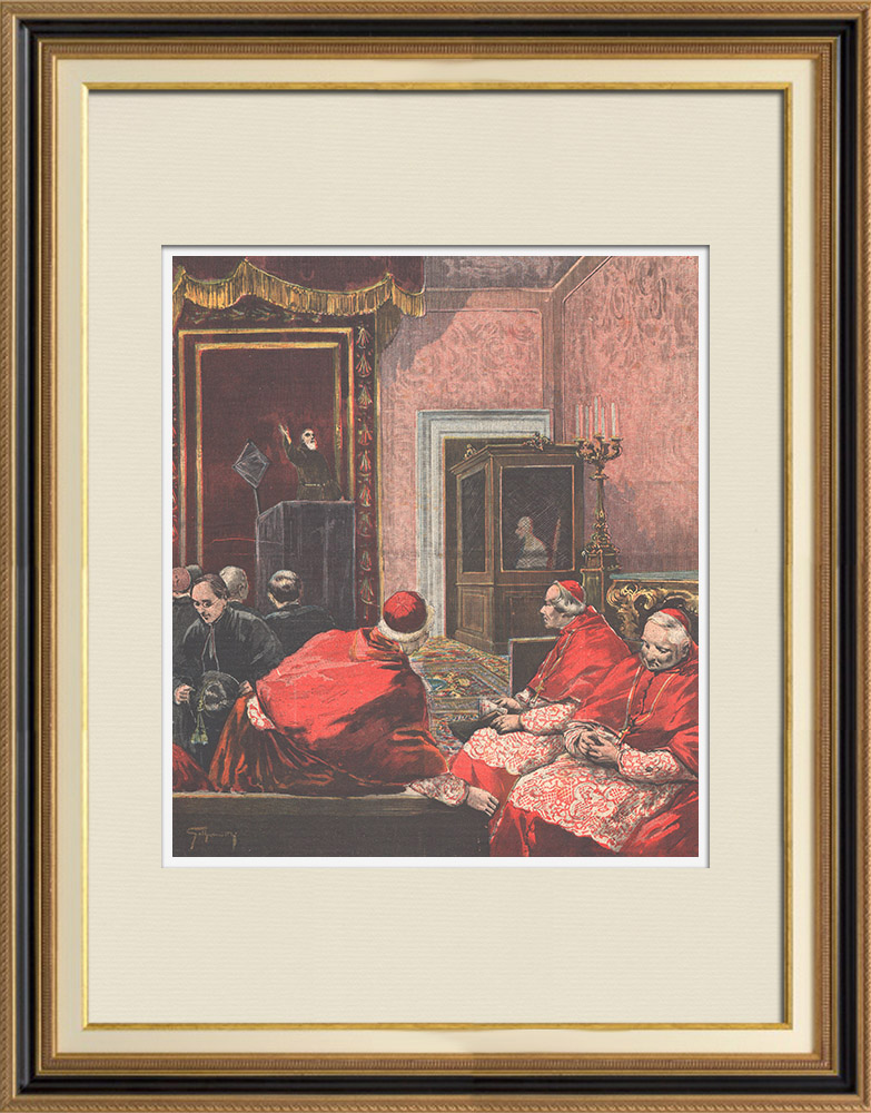 Antique Prints & Drawings | Lent at the Vatican - The Pope listens to the sermon - Italy - XIXth Century | Wood engraving | 1895