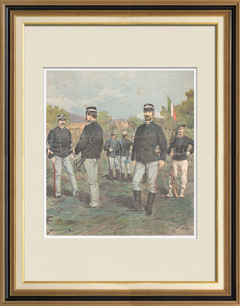 Antique Prints & Drawings | The new uniform of the Italian officers - 1895 | Wood engraving | 1895