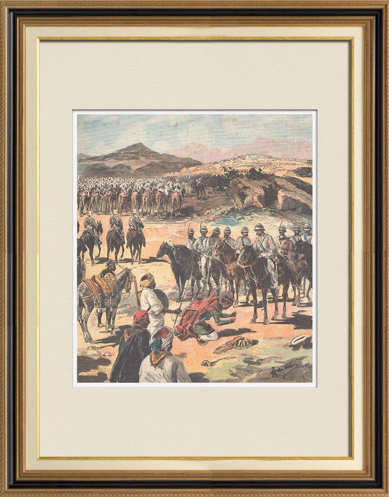 Gravures Anciennes & Dessins | Guerre italo-éthiopienne - Siège d'Adigrat - Ethiopie - 1895 | Gravure sur bois | 1895