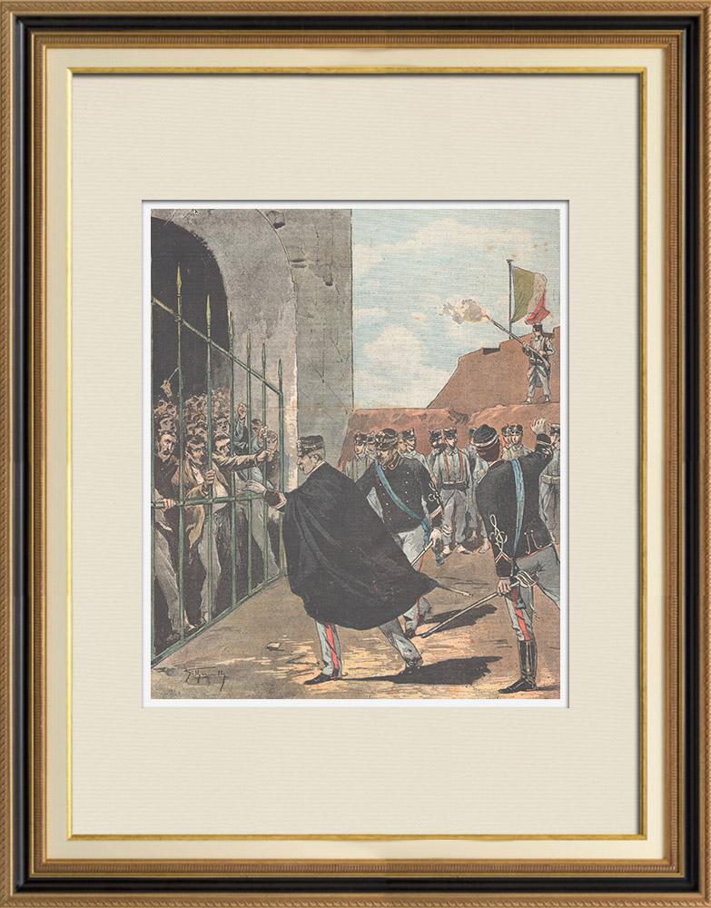 Grabados & Dibujos Antiguos | Evasión de la prisión de Porto Ercole - Toscana - Italia - 1895 | Grabado xilográfico | 1895
