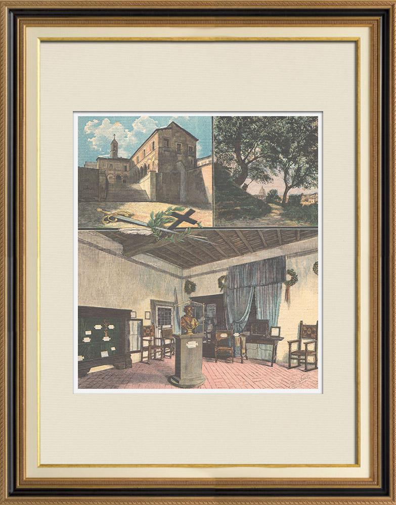 Gravures Anciennes & Dessins | Torquato Tasso - Poète italien du XVIème siècle - Troisième centenaire de sa mort - 1895 | Gravure sur bois | 1895