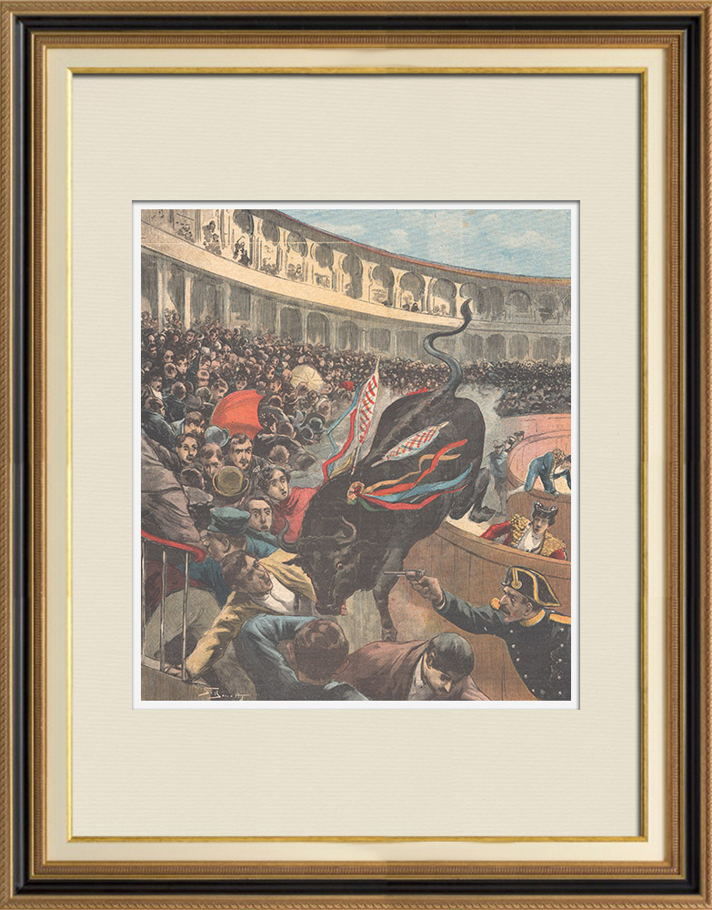 Gravures Anciennes & Dessins | Tauromachie - Taureau franchissant la barrière - Arènes - Barcelone (Espagne) | Gravure sur bois | 1895