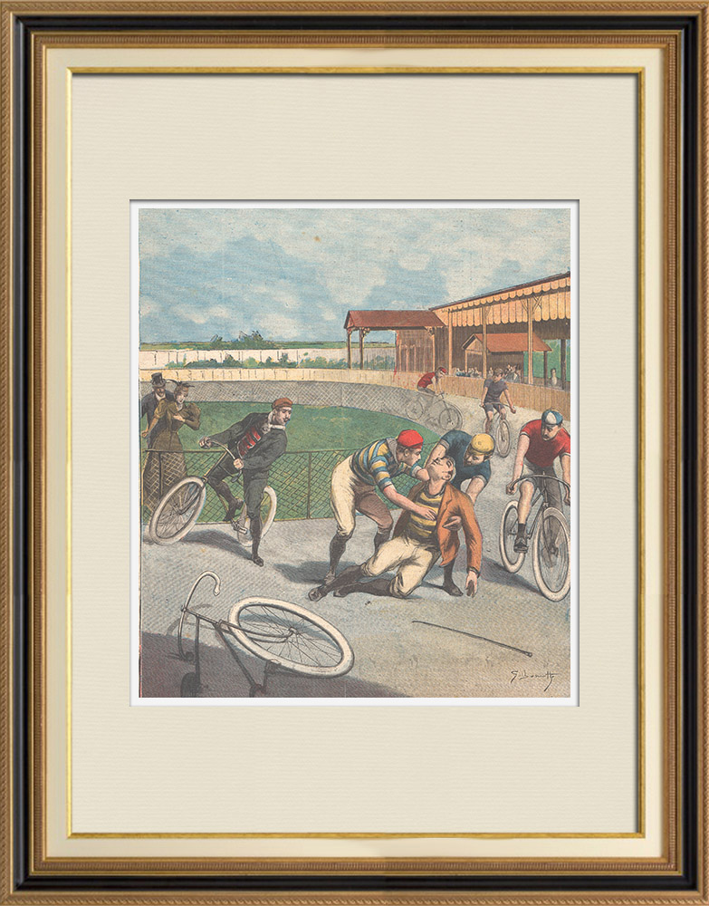 Gravures Anciennes & Dessins | Un cycliste grièvement blessé sur la piste Trotter de Milan (Italie) | Gravure sur bois | 1895