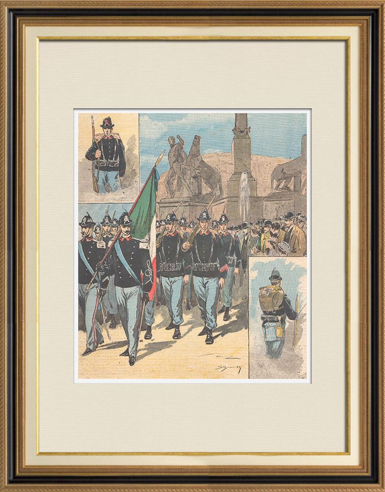 Gravures Anciennes & Dessins | Uniforme Militaire - Nouveaux uniformes de l'armée italienne - 1895 | Gravure sur bois | 1895