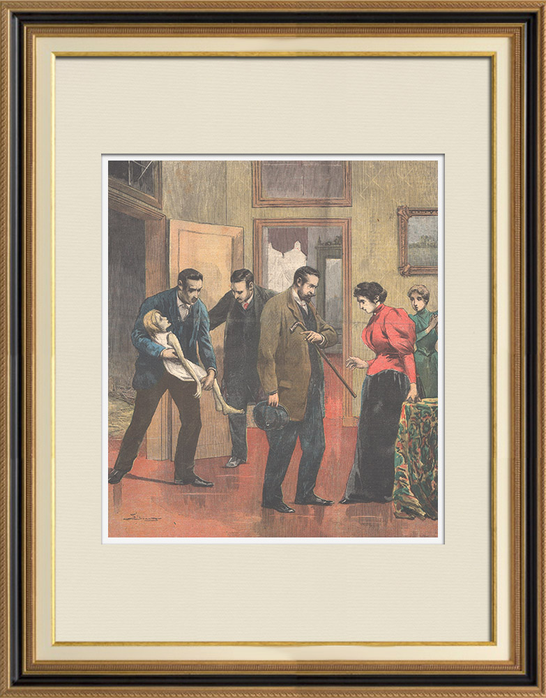 Gravures Anciennes & Dessins | Enfant maltraité dans une famille riche de Rome - Italie - 1895 | Gravure sur bois | 1895
