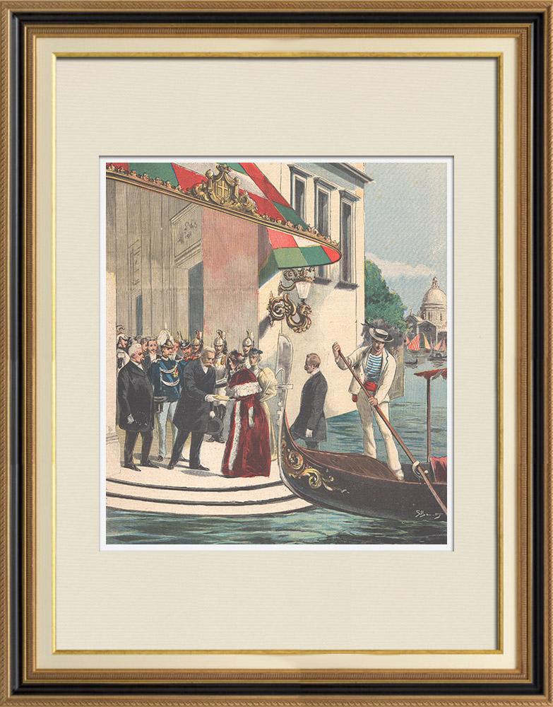 Gravures Anciennes & Dessins | L'impératrice d'Autriche rend visite aux souverains italiens au Palais Royal de Venise - 1895 | Gravure sur bois | 1895