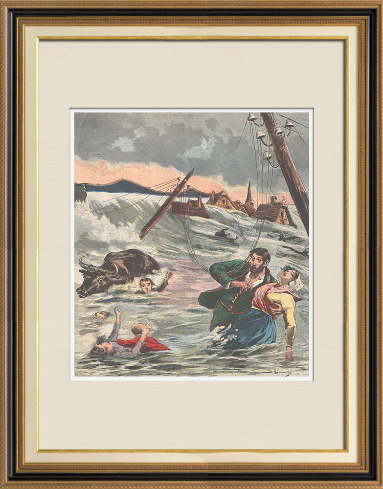 Antique Prints & Drawings | Disaster - Breaking of the Bouzey dam - 1895 (France) | Wood engraving | 1895
