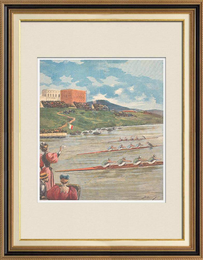 Gravures Anciennes & Dessins | Régates sur le Tibre à Rome - Italie - 1895 | Gravure sur bois | 1895