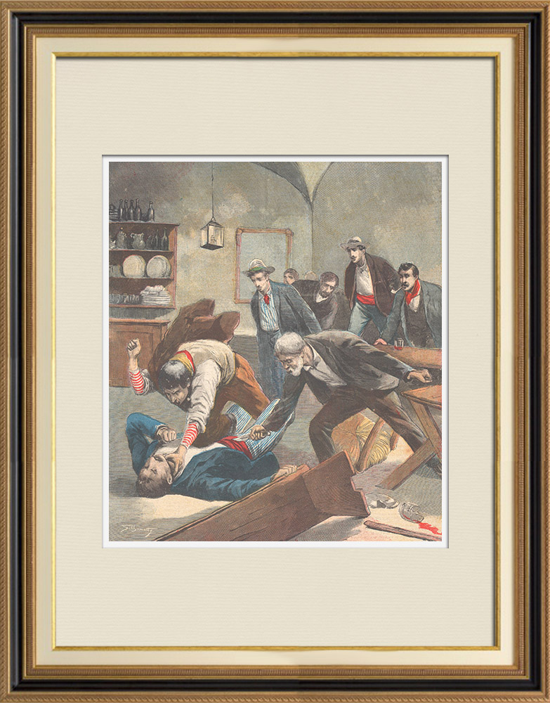Antique Prints & Drawings | A father kills the seducer of his daughter near of Milan - Italy - 1895 | Wood engraving | 1895