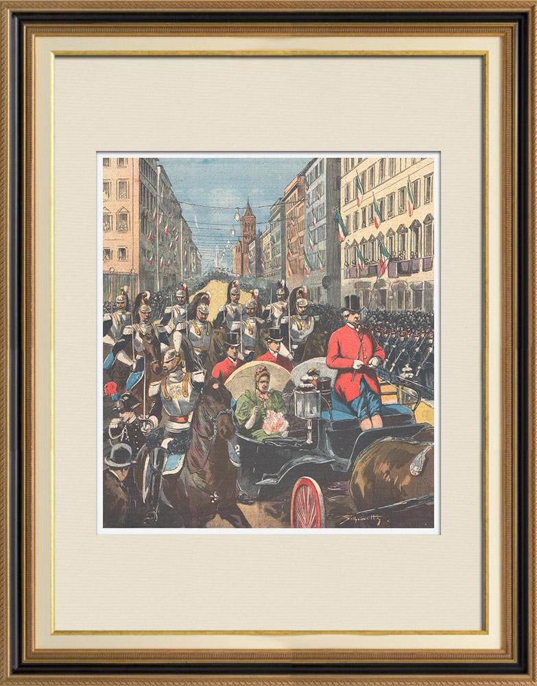 Gravures Anciennes & Dessins   Anniversaire du 2 Juin - La Reine de retour de la revue militaire à Rome - 1895   Gravure sur bois   1895