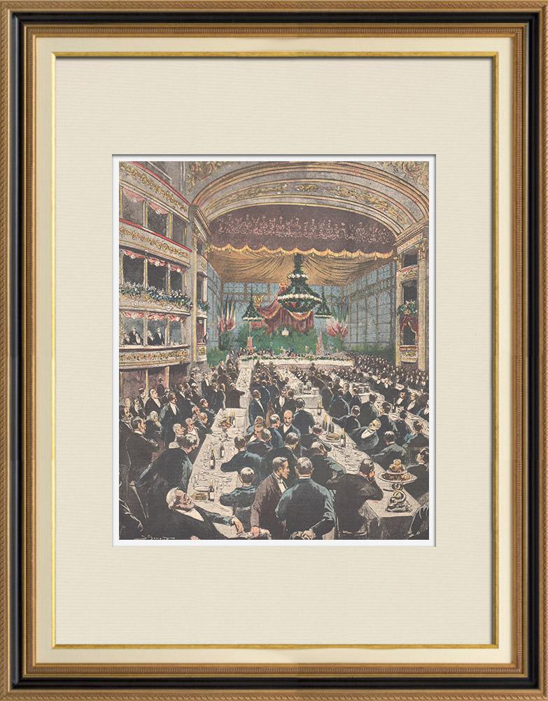 Gravures Anciennes & Dessins   Banquet en l'honneur de Francesco Crispi au théâtre Argentina de Rome - 1895   Gravure sur bois   1895
