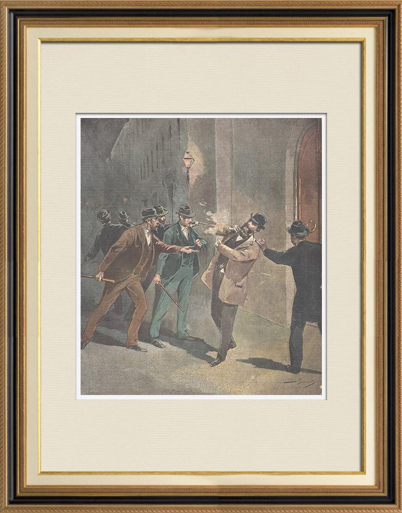 Gravures Anciennes & Dessins   Attentat contre le comte Luigi Ferrari à Rimini - Italie - 1895    Gravure sur bois   1895