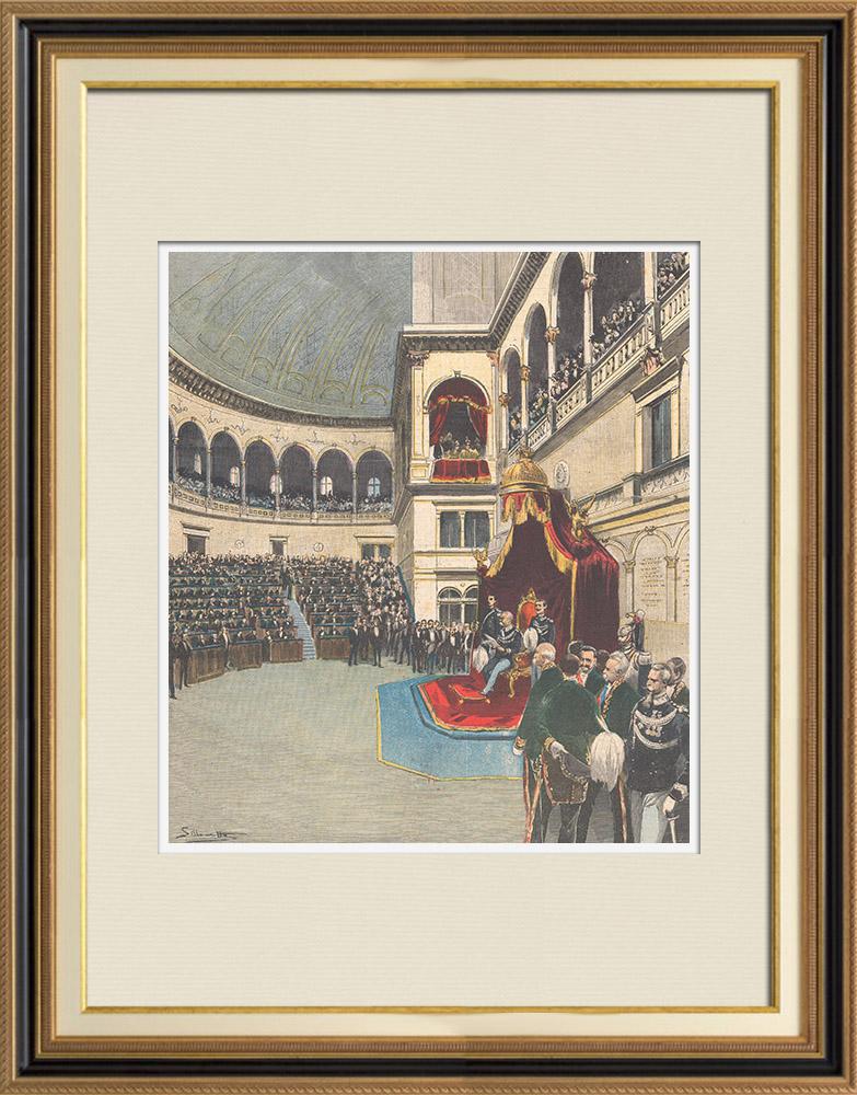 Gravures Anciennes & Dessins | Inauguration de la XIXe législature à Montecitorio - Discours du roi - Italie - 1895 | Gravure sur bois | 1895