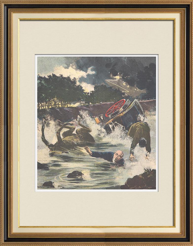 Gravures Anciennes & Dessins   Mort tragique du sénateur Capone à Nucère Inférieure - Italie - 1895   Gravure sur bois   1895