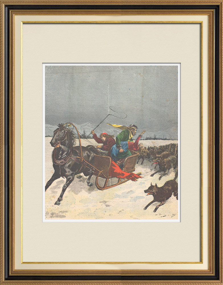 Antique Prints & Drawings   Cruel parents - Children thrown to wolves in Russia - 1895   Wood engraving   1895