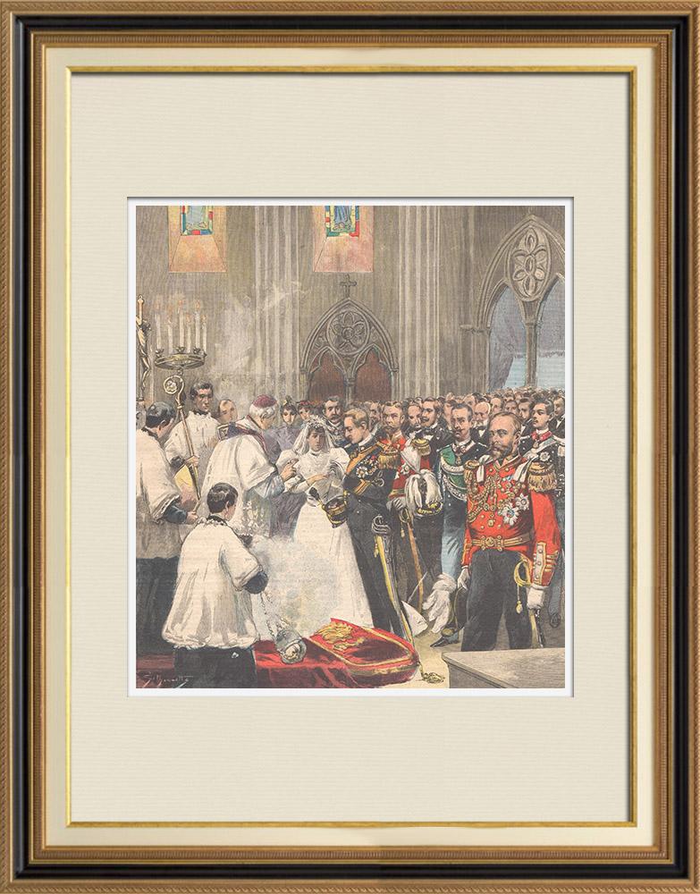 Gravures Anciennes & Dessins   Mariage du duc d'Aoste avec la princesse Hélène d'Orléans - Angleterre - 1895   Gravure sur bois   1895