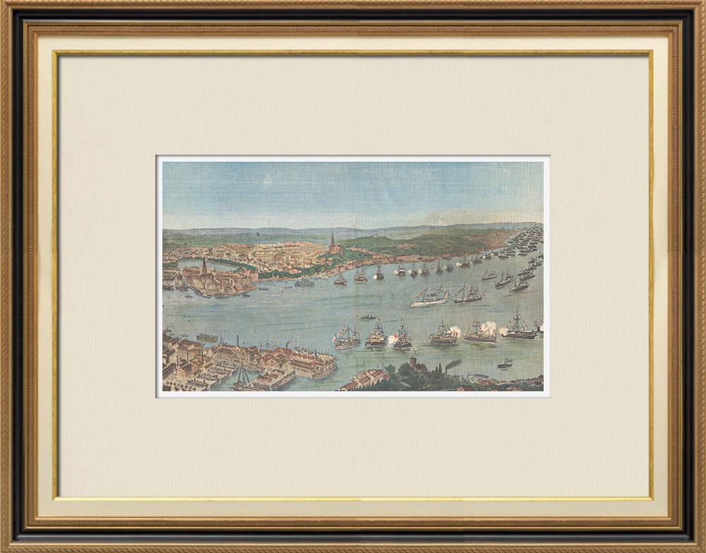 Gravures Anciennes & Dessins   Revue navale dans le port de Kiel - Inauguration du Canal - Allemagne - 1895   Gravure sur bois   1895