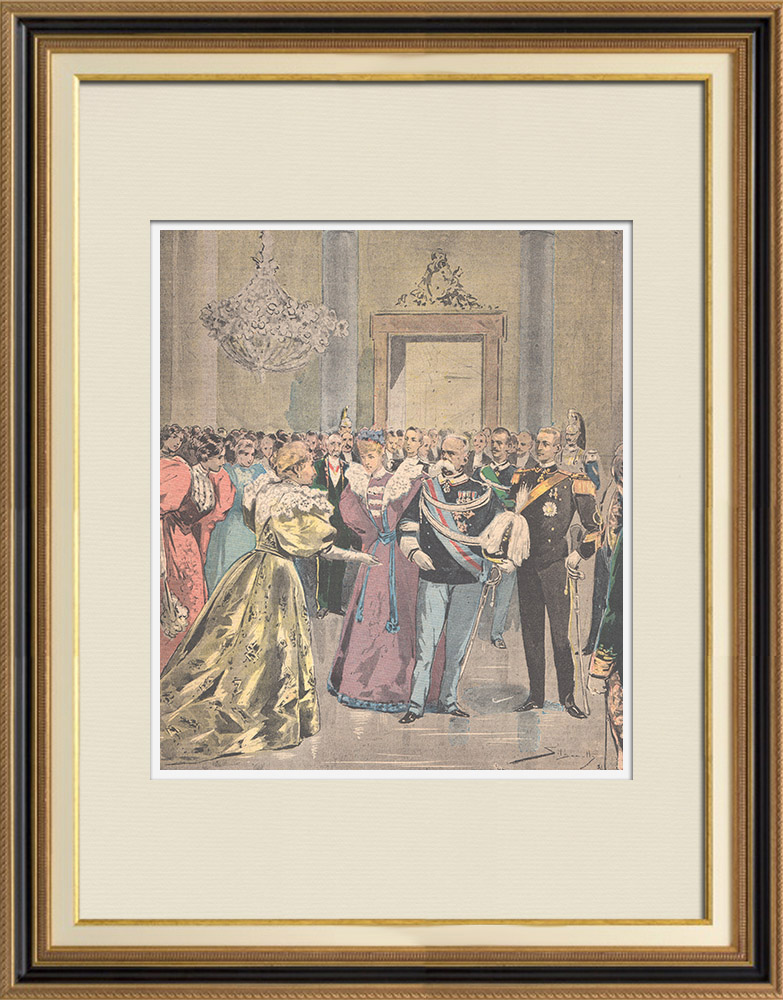 Antique Prints & Drawings | Wedding of Prince Emanuele Filiberto with Hélène of Orléans - Quirinal Palace - Italy - 1895 | Wood engraving | 1895