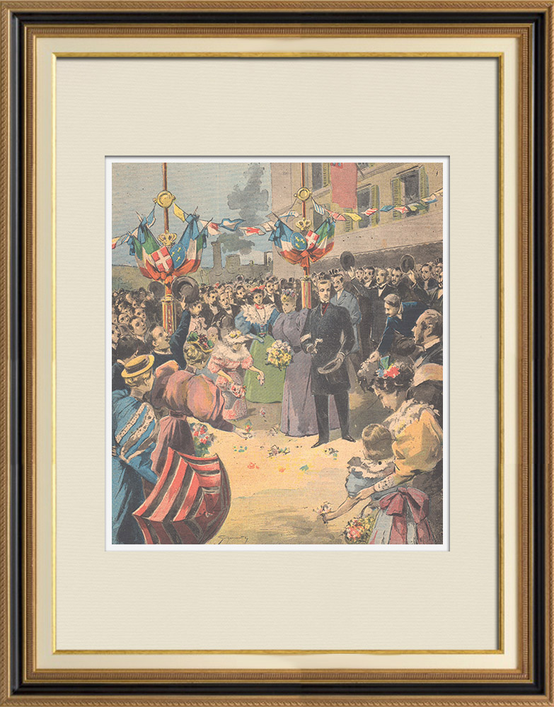 Antique Prints & Drawings | Prince Emanuele Filiberto and Hélène of Orléans - Arrival in Evesham - England | Wood engraving | 1895