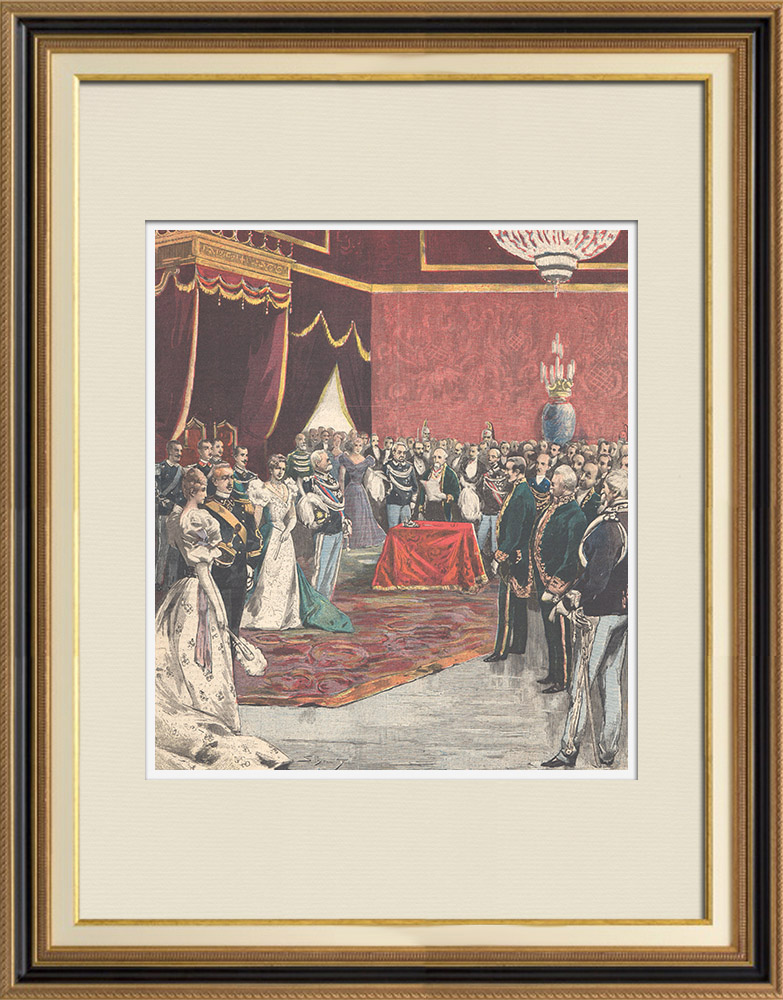 Gravures Anciennes & Dessins | Duc et Duchesse d'Aoste à Rome - Acte de mariage au Palais du Quirinal - Rome - 1895 | Gravure sur bois | 1895