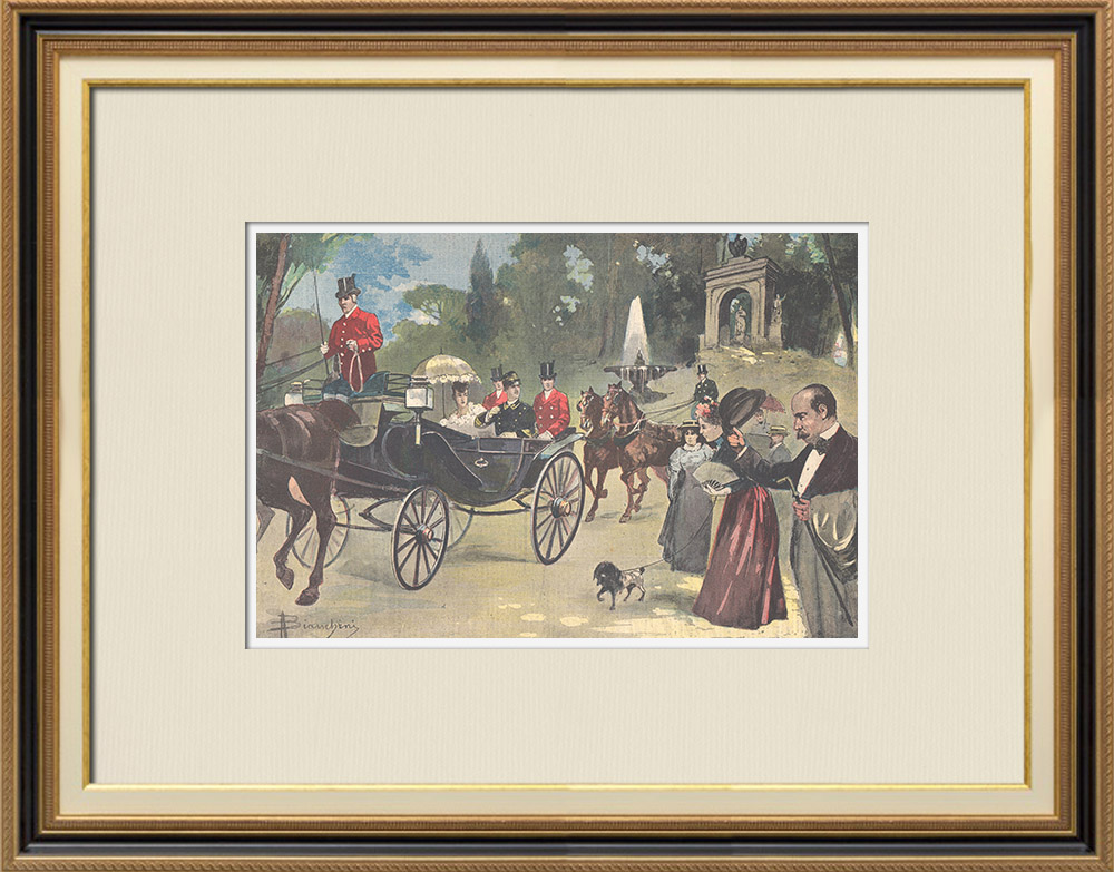 Antique Prints & Drawings | Duke and Duchess of Aosta in Villa Borghese - Rome - 1895 | Wood engraving | 1895