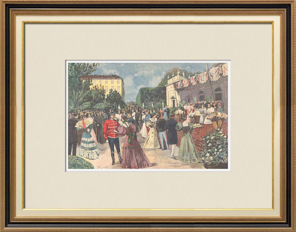 Gravures Anciennes & Dessins | Duc et Duchesse d'Aoste - Garden-Party au Palais du Quirinal - Rome - 1895 | Gravure sur bois | 1895