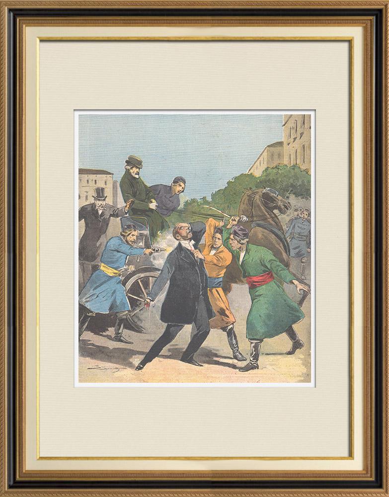 Gravures Anciennes & Dessins | Assassinat de l'ancien ministre Stefano Stambouloff à Sofia - Bulgarie - 1895 | Gravure sur bois | 1895