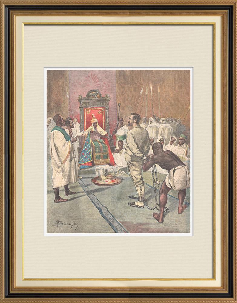 Antique Prints & Drawings | Events in Africa - Menelik II judges the engineer Capucci - Ethiopia - 1895 | Wood engraving | 1895