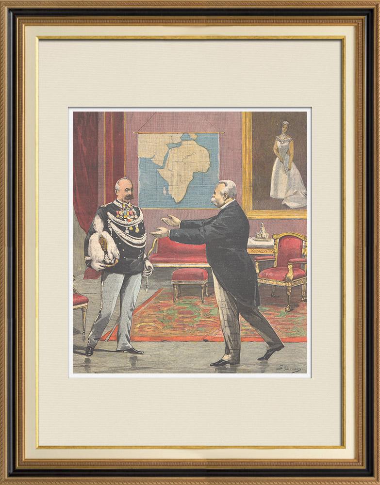 Gravures Anciennes & Dessins | Le général Baratieri reçu par le roi au Palais du Quirinal - Rome - Italie - 1895 | Gravure sur bois | 1895