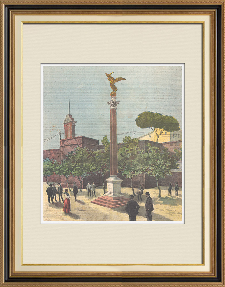 Antique Prints & Drawings   Capture of Rome - Commemorative monument of September 20, 1870 - Rome - Italy   Wood engraving   1895