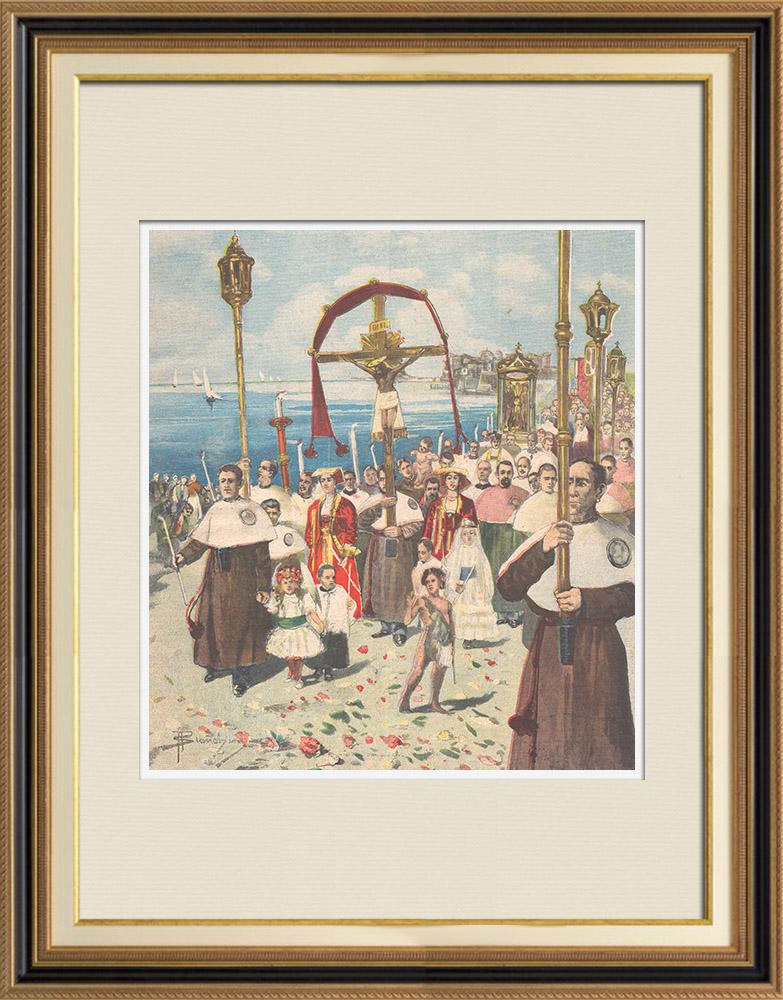 Gravures Anciennes & Dessins | Ferragosto - Procession du 15 août à Nettuno - Latium - Italie - 1895 | Gravure sur bois | 1895
