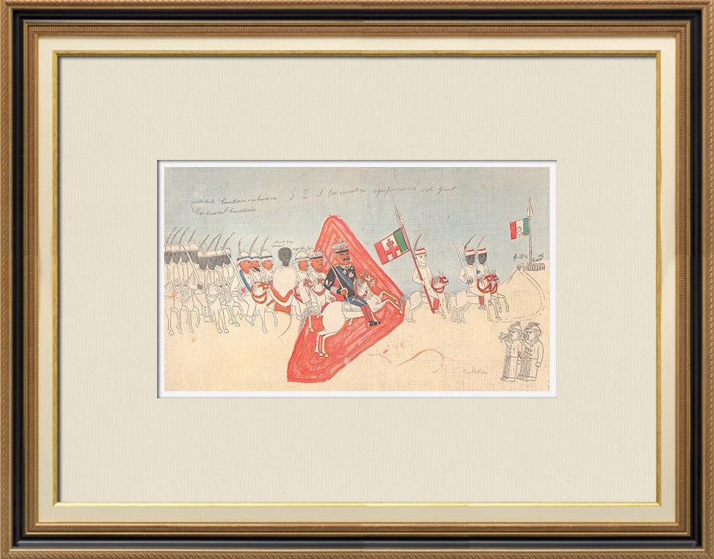 Antique Prints & Drawings | Drawing - Italo-Ethiopian War - General Baratieri on the way to Adigrat - 1895 | Wood engraving | 1895