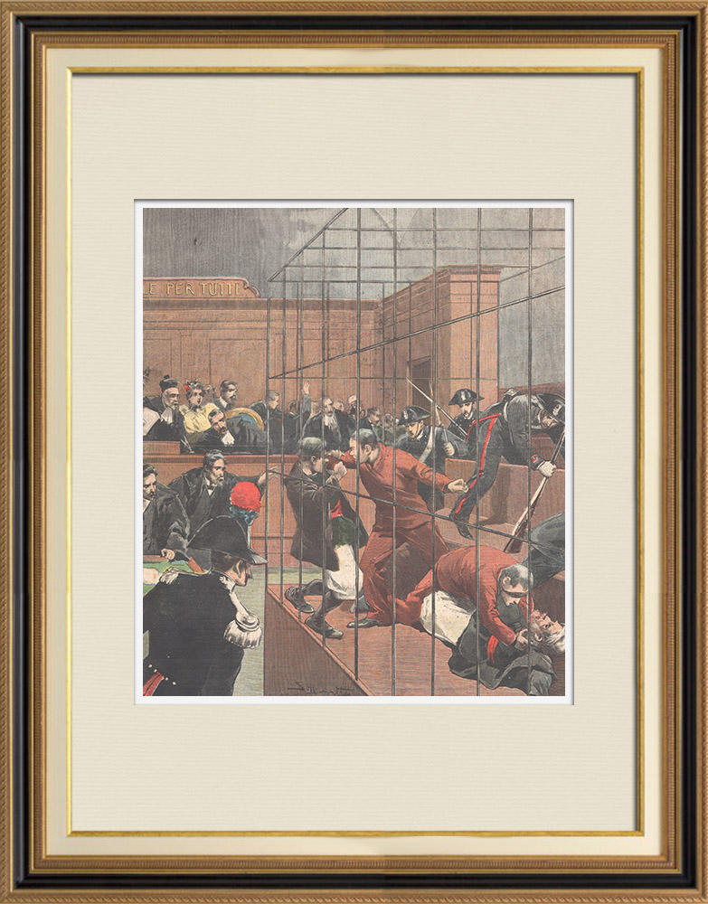 Antique Prints & Drawings | Incident at the Assisi Court of Sassari - Sardinia - Italy - 1895 | Wood engraving | 1895
