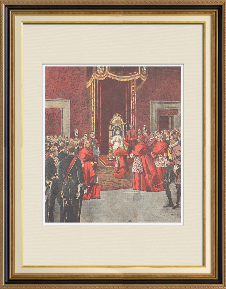 Antique Prints & Drawings | Pope Leo XIII - Reception in the throne room of Vatican - Italy - 1895 | Wood engraving | 1895