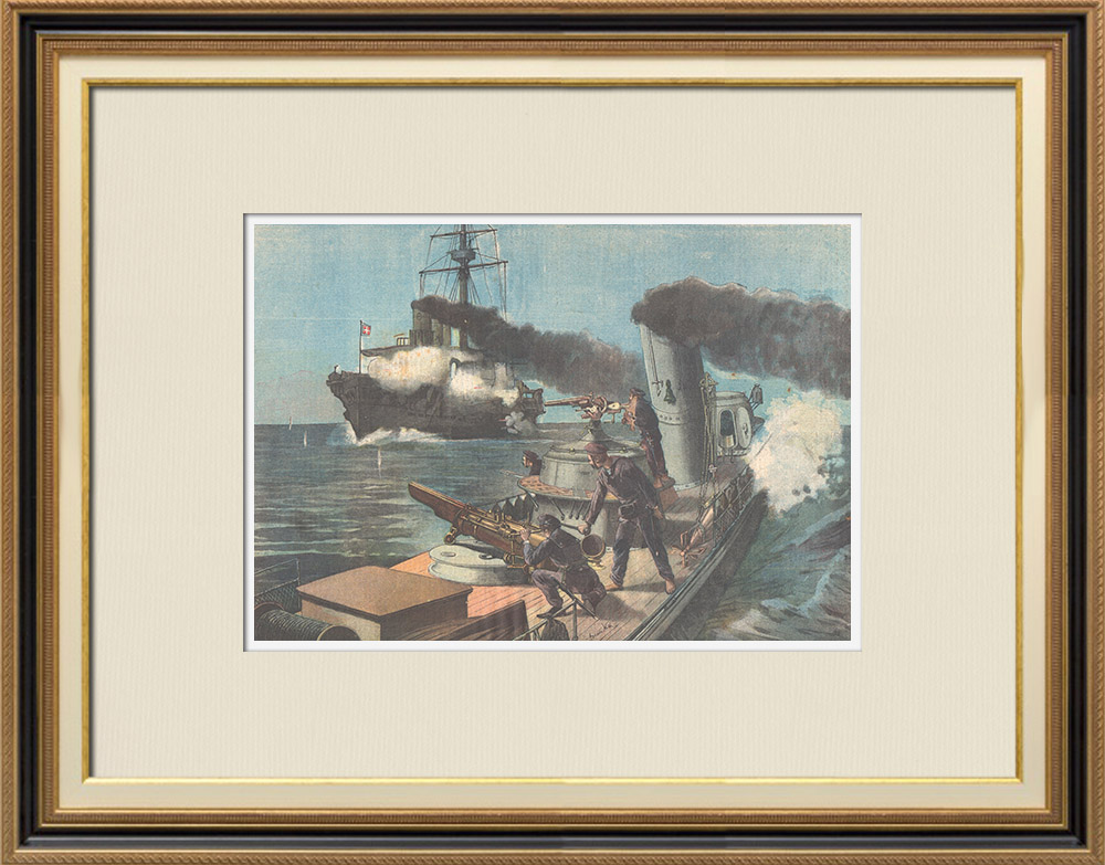 Antique Prints & Drawings | Military exercise of the italian Fleet - Attack of a torpedo boat - Italy - XIXth Century | Wood engraving | 1895
