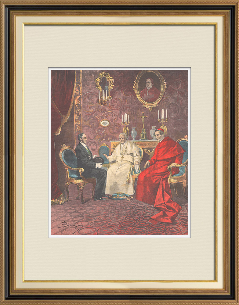Antique Prints & Drawings | 25th anniversary of the liberation of Rome - Count Ponza gives to the Pope the King's letter - 1895 | Wood engraving | 1895