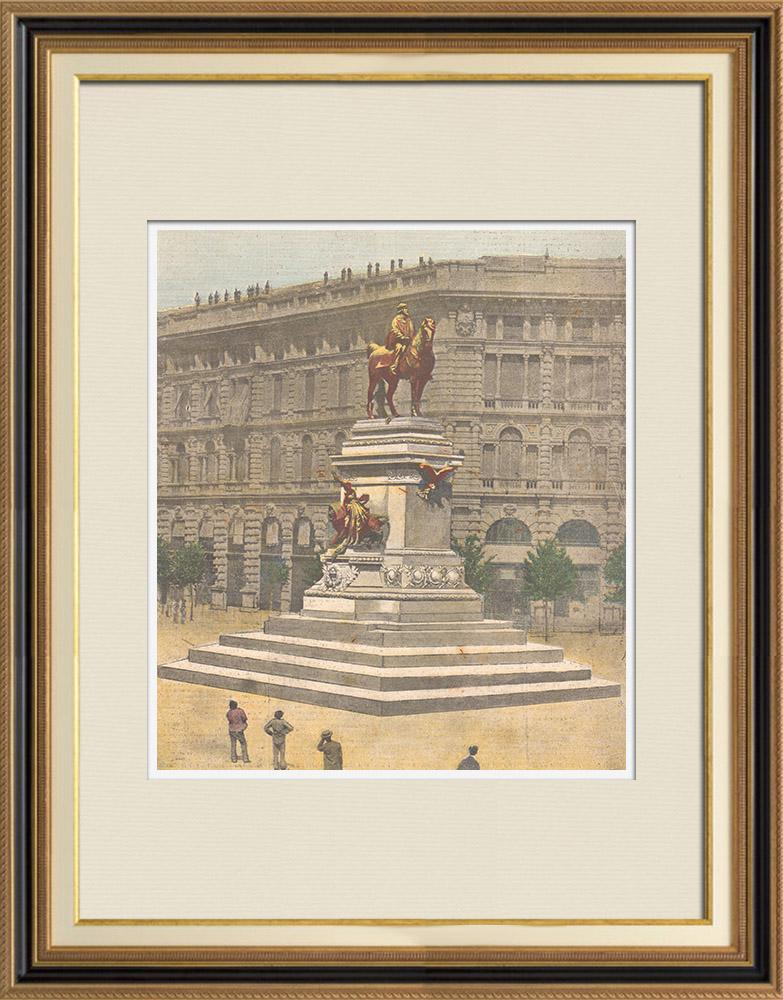 Antique Prints & Drawings | Equestrian Statue of Garibaldi in Milan - Ettore Ximenes, sculptor - Italy | Wood engraving | 1895