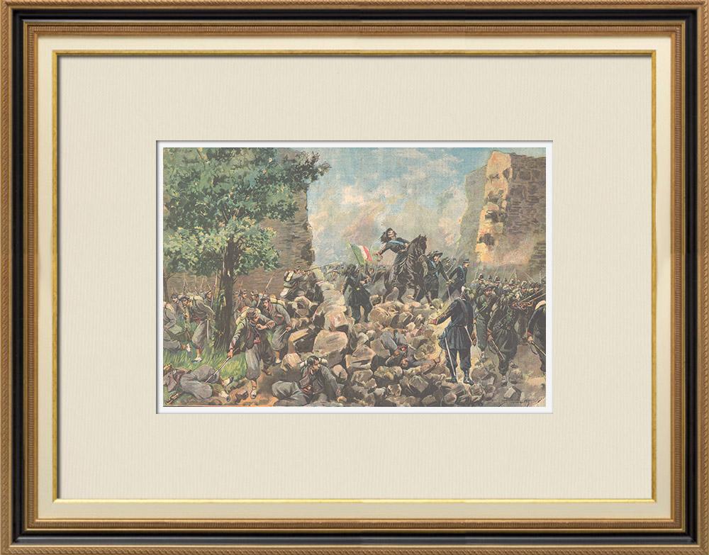 Gravures Anciennes & Dessins | Souvenirs de 1870 - Sur la brèche - Porta Pia - Rome - Italie | Gravure sur bois | 1895