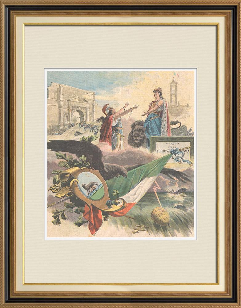Gravures Anciennes & Dessins | 20 Septembre 1870 - Sur la brèche - Porta Pia - Rome - Italie | Gravure sur bois | 1895
