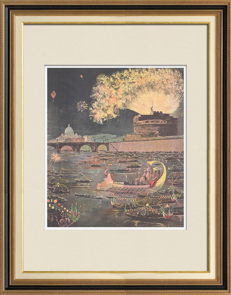 Gravures Anciennes & Dessins | Commémoration du 20 septembre - Illumination du Tibre - Rome - Italie | Gravure sur bois | 1895